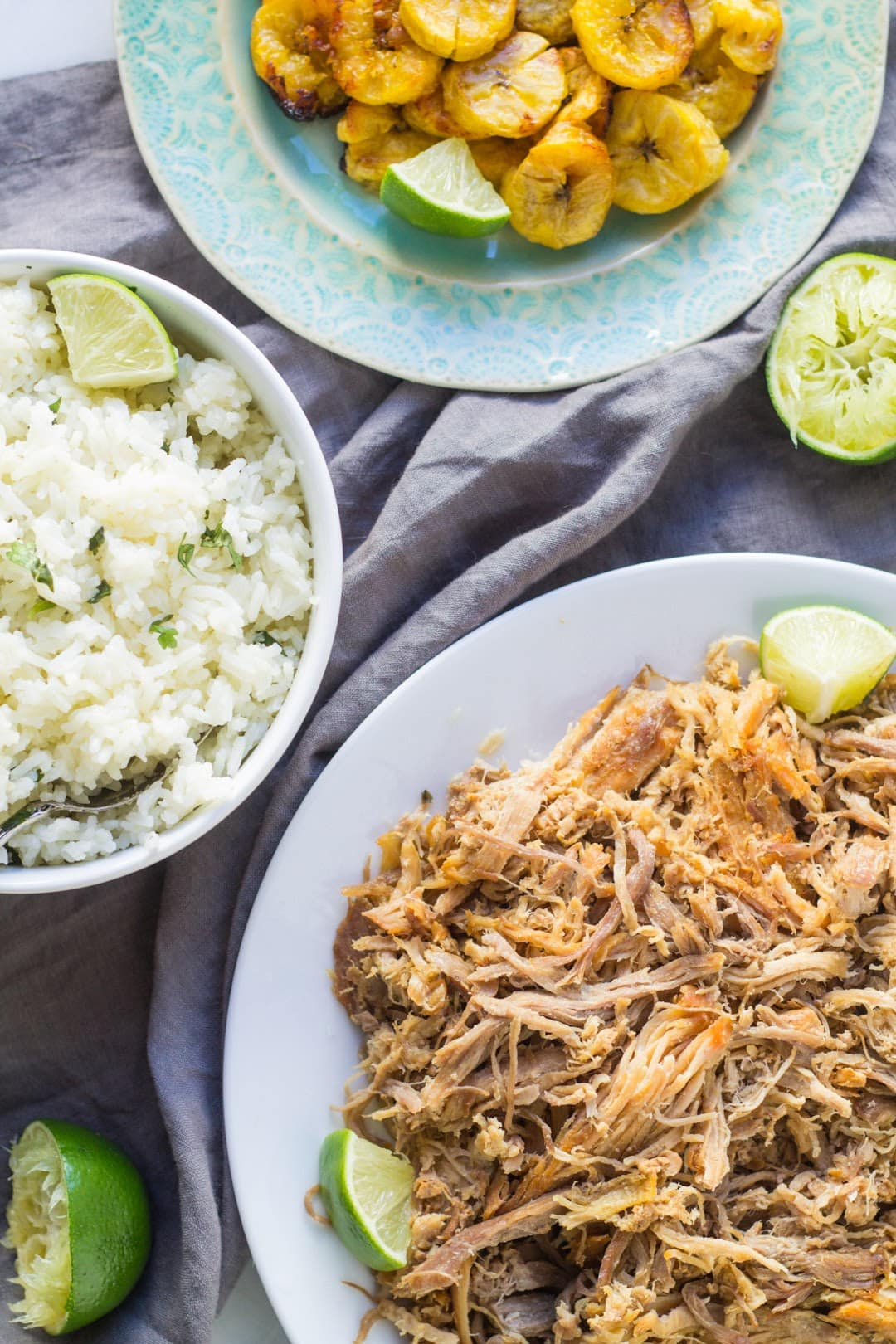 Low Fodmap Carnitas, Low Fodmap Roasted Plantains and Low Fodmap Cilantro Lime Rice