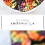 Two photos of low FODMAP rainbow wraps