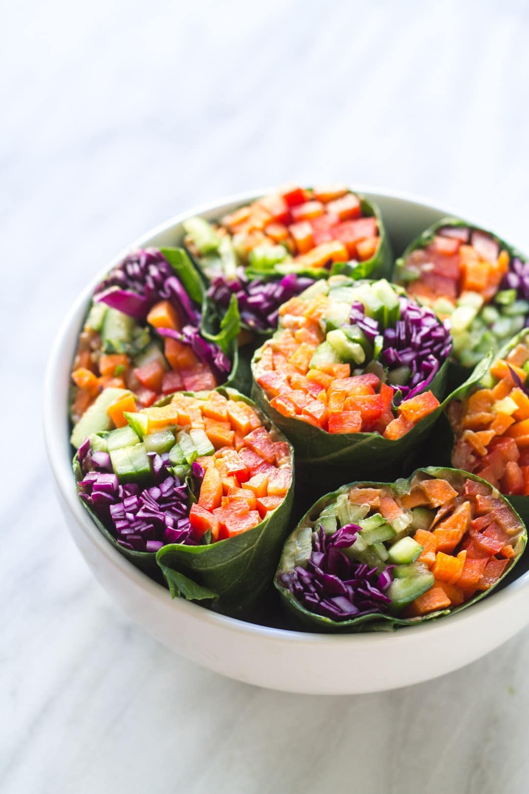 Bowl of Low FODMAP Rainbow Wraps