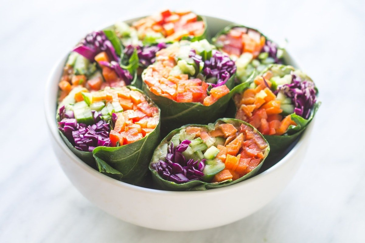 Centered bowl of low FODMAP rainbow wrap