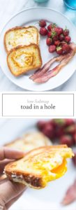 Two images of low FODMAP toad in a hole