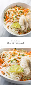 Two images of low FODMAP Thai citrus salad