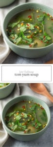 Bowls of Tom Yum Soup for Pinterest