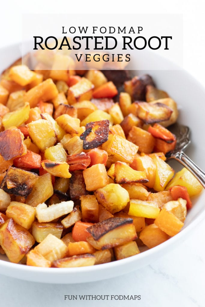 A bowl of low FODAMP Roasted Root Veggies