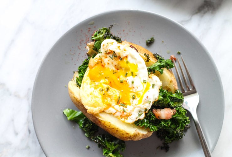 Low FODMAP breakfast stuffed potato