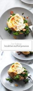 Two photos of low FODMAP breakfast stuffed potato