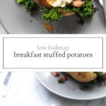 Two photos of low FODMAP breakfast stuffed potato