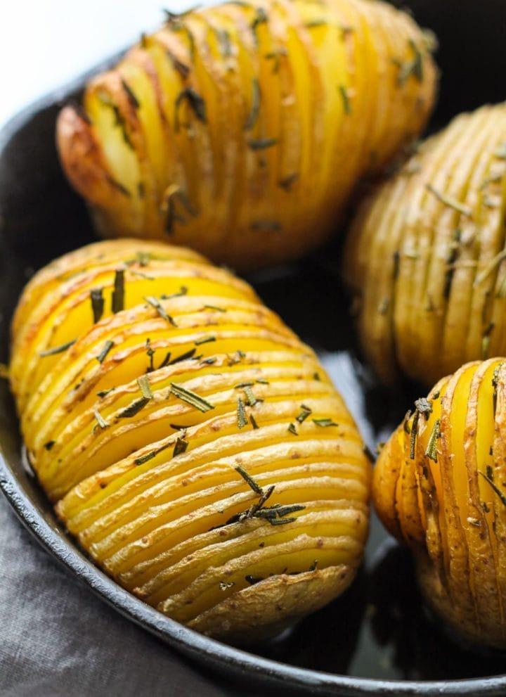 Low FODMAP Garlic Rosemary Hasselback Potatoes