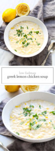 Two photos of low FODMAP Greek lemon chicken soup
