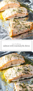 Two images of Low FODMAP Salmon with Rosemary and Chives