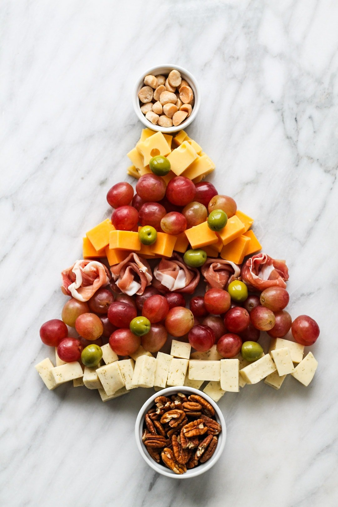Low FODMAP Cheese Board shaped like a Christmas tree
