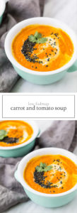 Two photos of low FODMAP carrot and tomato soup