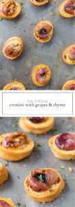 Two images of low FODMAP crostini with roasted grapes and thyme