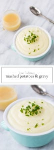 Two photos of low FODMAP mashed potatoes and gravy