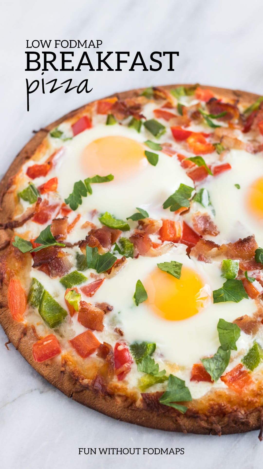 A close up shot of Low FODMAP Breakfast Pizza.