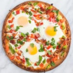 A square photo of low FODMAP breakfast pizza