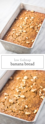 Two images of low FODMAP banana bread