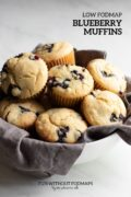 "A basket of blueberry muffins. In the top right corner a black text overlay reads ""Low FODMAP Blueberry Muffins."""