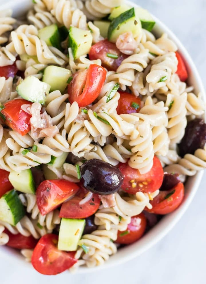 Bowl of Low FODMAP Italian Pasta Salad