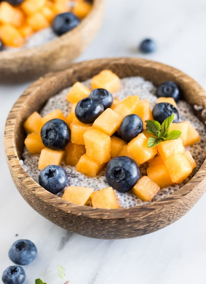 Low FODMAP Coconut Chia Pudding with Cantaloupe and Blueberries
