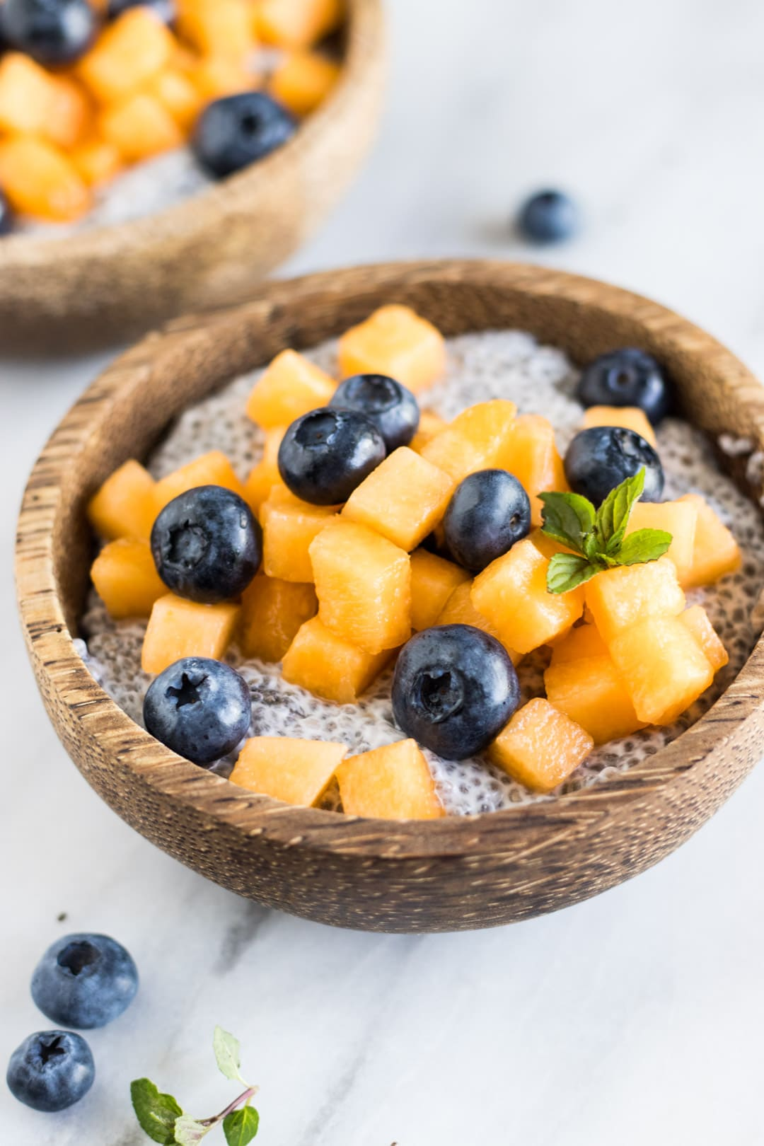 A wooden bowl filled with low FODMAP coconut chia pudding and topped with diced cantaloupe and blueberries.