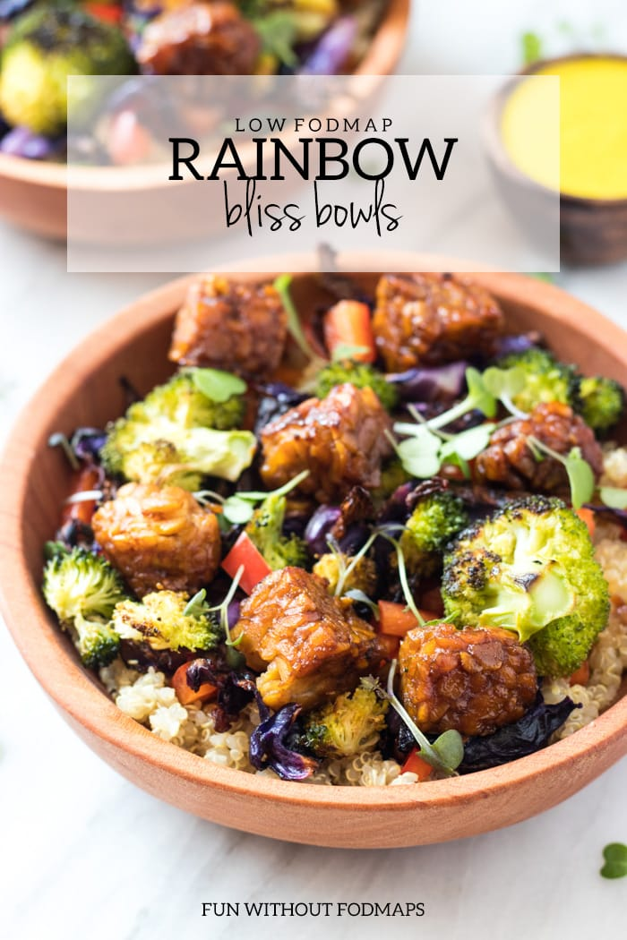 A close up of low FODMAP rainbow bliss bowls. A light gray rectangular overlay is at the top of the image with dark gray text reading low FODMAP rainbow bliss bowls.