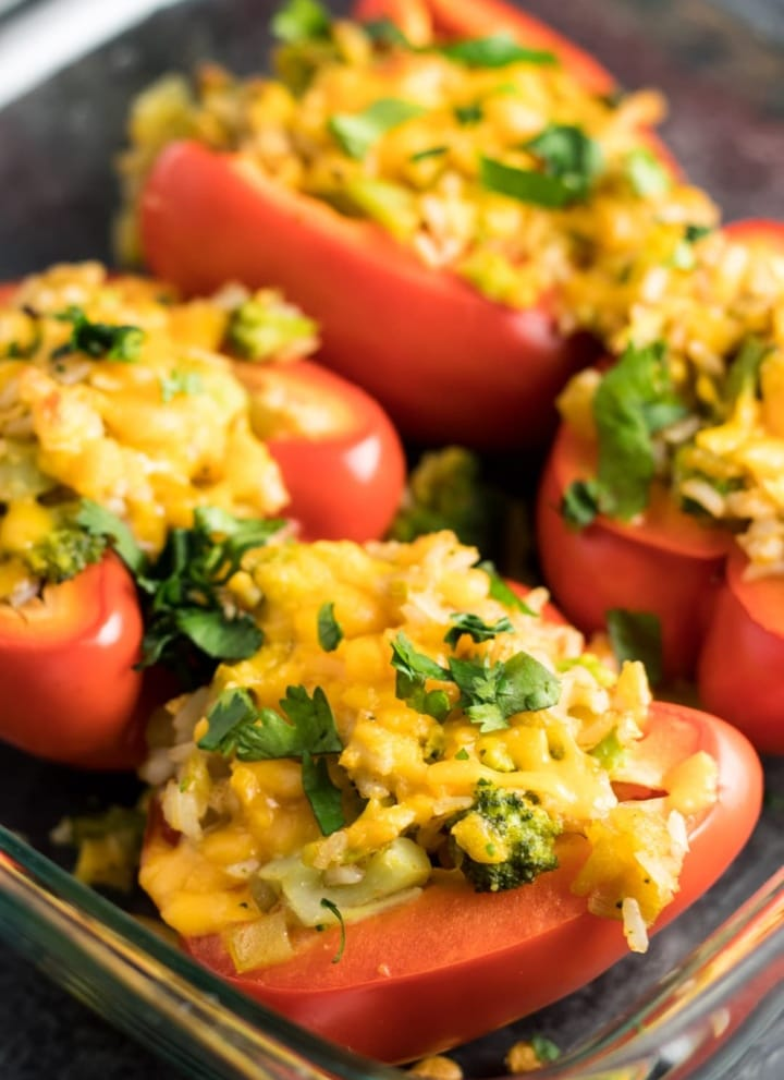 Low FODMAP Stuffed Peppers with Broccoli and Rice