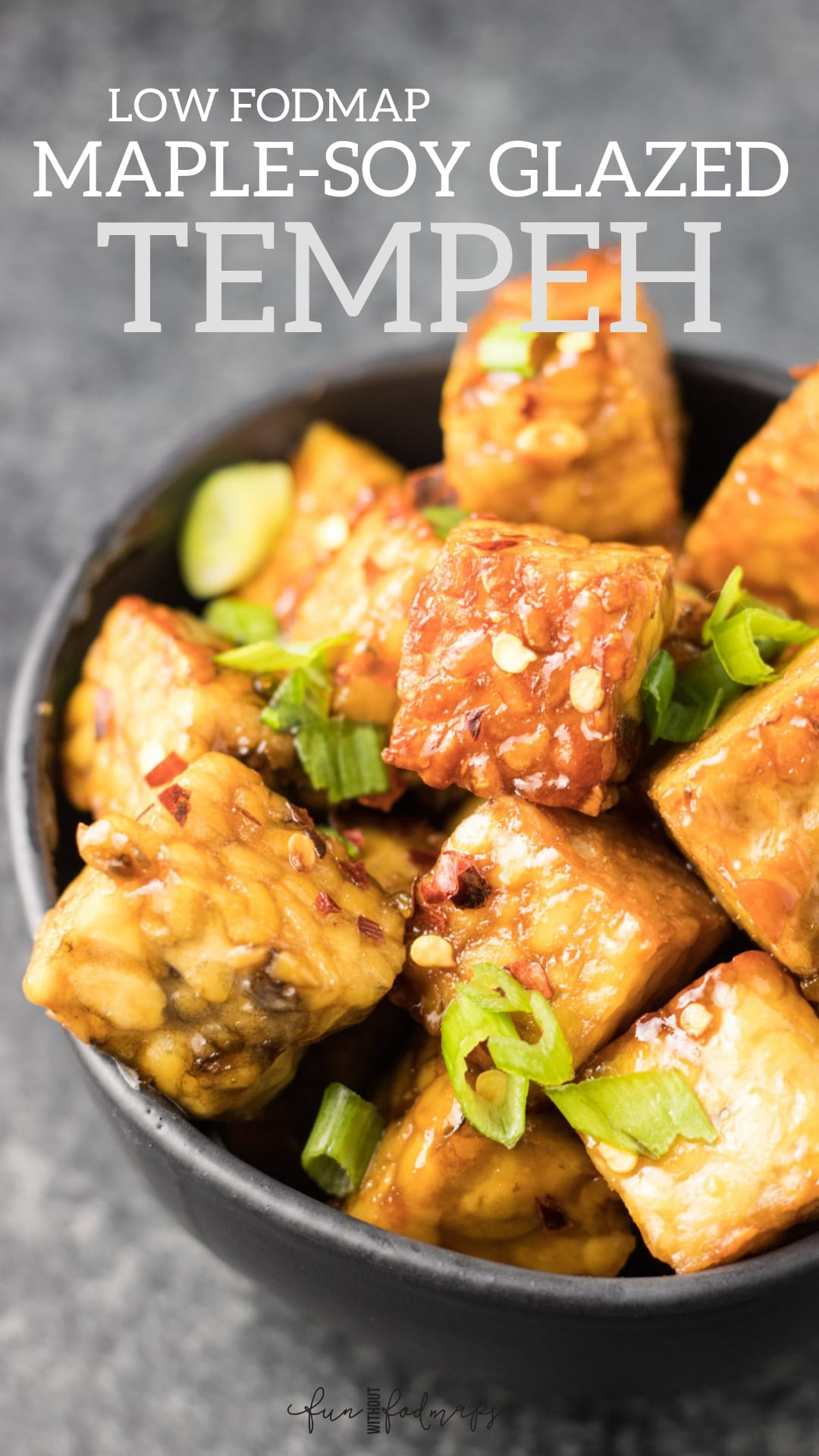 A bowl of pan-fried tempeh tossed in a maple-soy glaze. A white and gray text overlay reads Low FODMAP Maple-Soy Glazed Temeph
