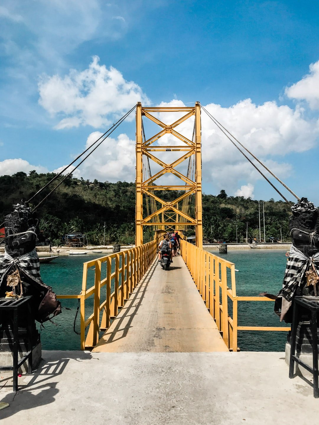 Yellow bridge connecting Lembongan with Ceningan