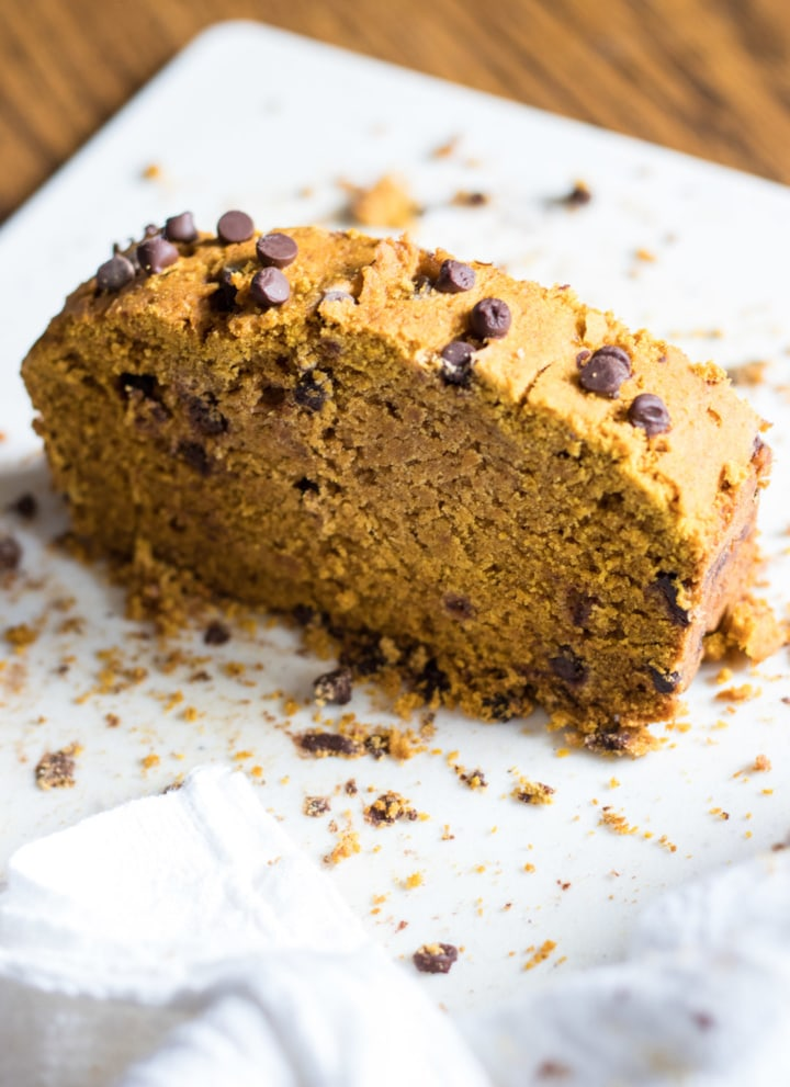 A slice of low FODMAP pumpkin bread
