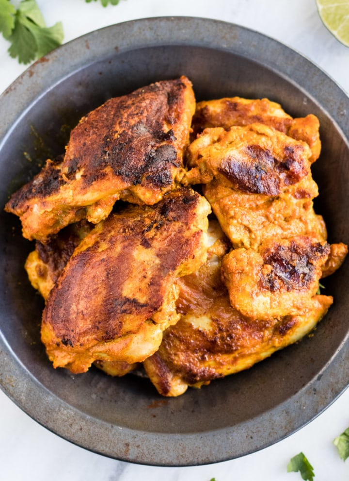 A bowl of Indian-inspired grilled chicken.