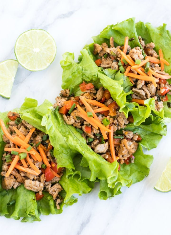 Low FODMAP Turkey Larb in lettuce wraps