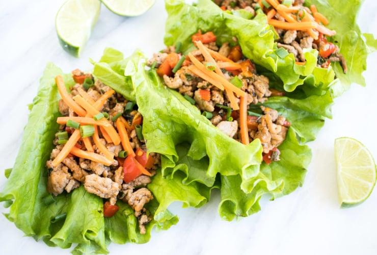 Low FODMAP Turkey Larb in lettuce wraps