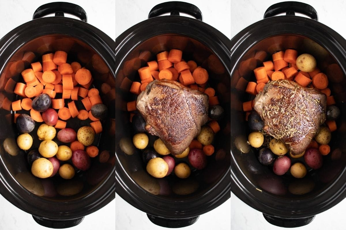 Three images of ingredients being added to a slow cooker. The first is carrots and baby potatoes. The second has seared beef roast added on top. The third has thyme and rosemary sprinkled on top of the roast.