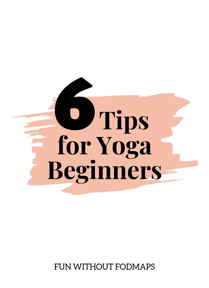 A white and light pink graphic with a black text overlay that reads 6 Tips for Yoga Beginners.