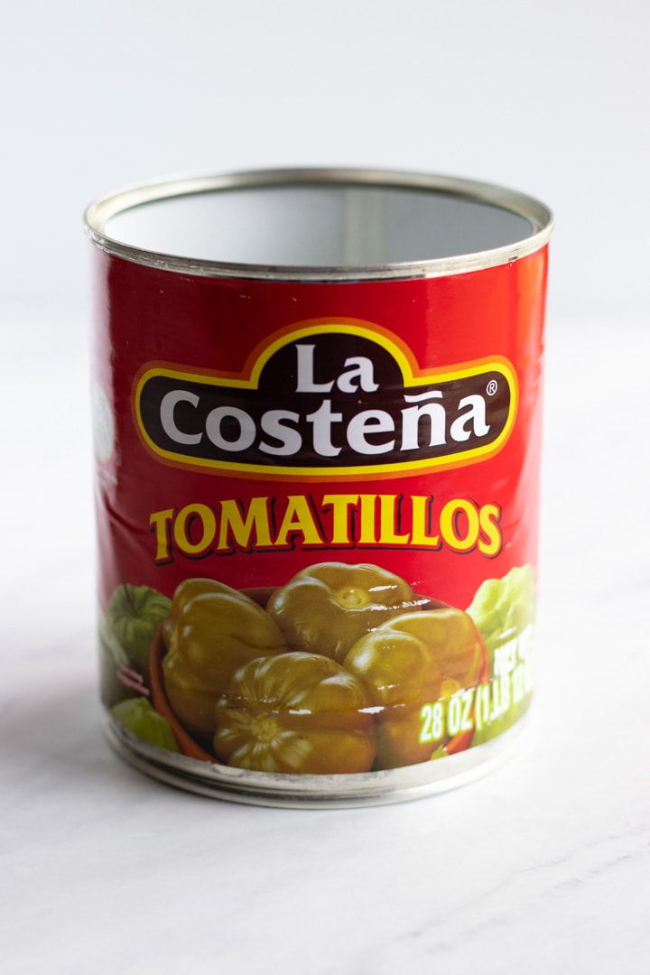 A can of La Costeña tomatillos used in low FODMAP chicken enchilada soup.