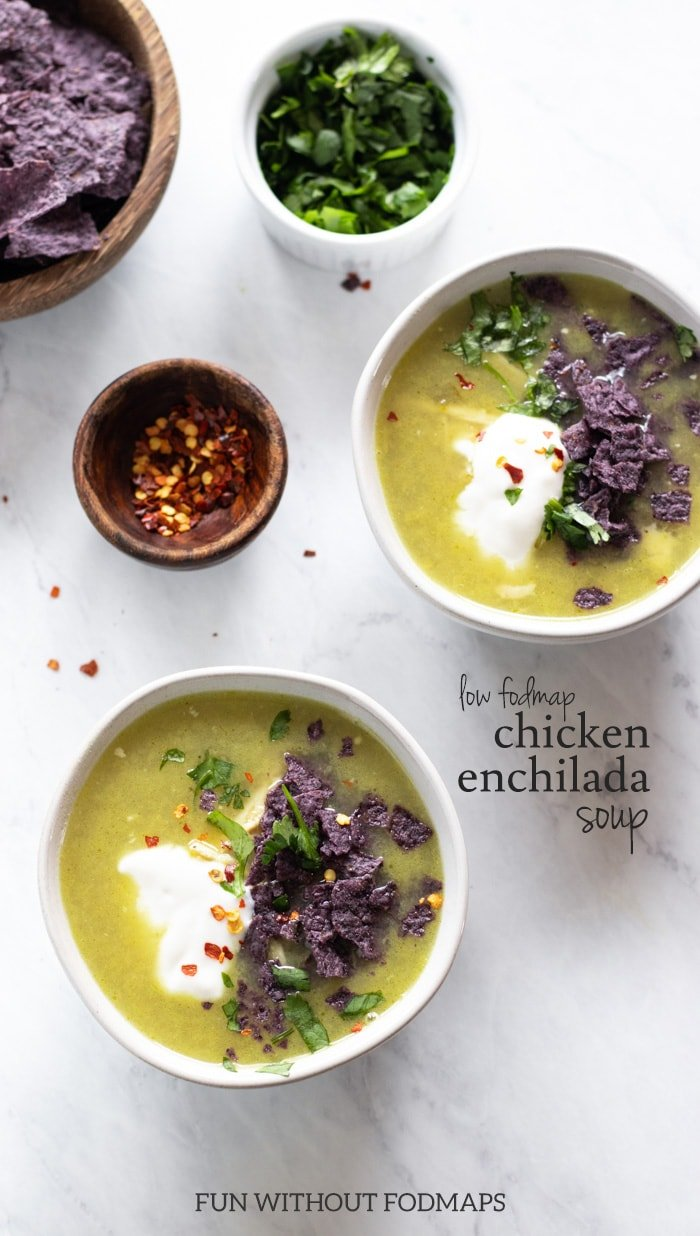 An overhead shot of a collection of bowls filled with chicken enchilada soup, red pepper flakes, cilantro leaves, and blue corn chips. There is black text in the middle right reading low FODMAP chicken enchilada soup. Centered text at the bottom of the image reads FUN WITHOUT FODMAPS.