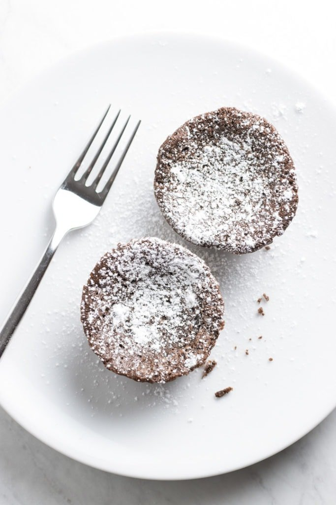 A white plate with two mini low FODMAP chocolate tortes and a fork.
