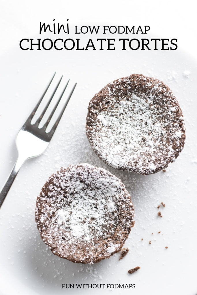 Two mini low FODMAP chocolate tortes on a white plate with a fork.