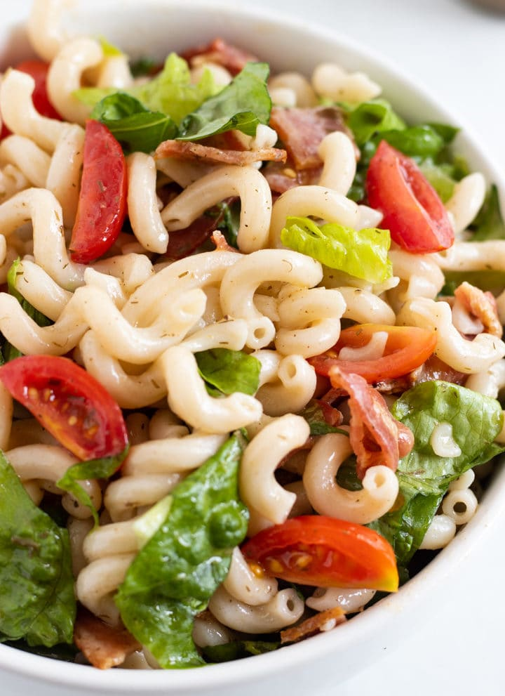 A bowl of Low FODMAP BLT Pasta Salad