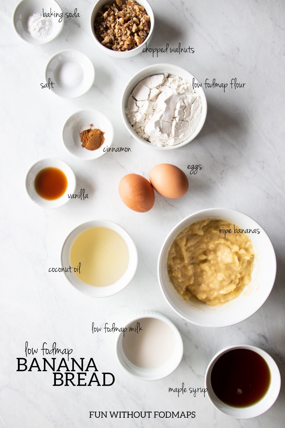 White dishes filled with the ingredients needed for low FODMAP banana bread