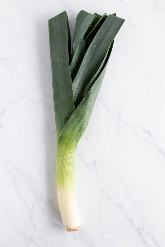 A leek on a white marble background