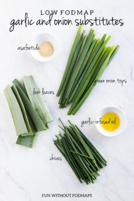 Low FODMAP Garlic and Onion Substitutes: Asafoetida, Green Onions, Chives, Garlic Infused Oil, Leek Leaves