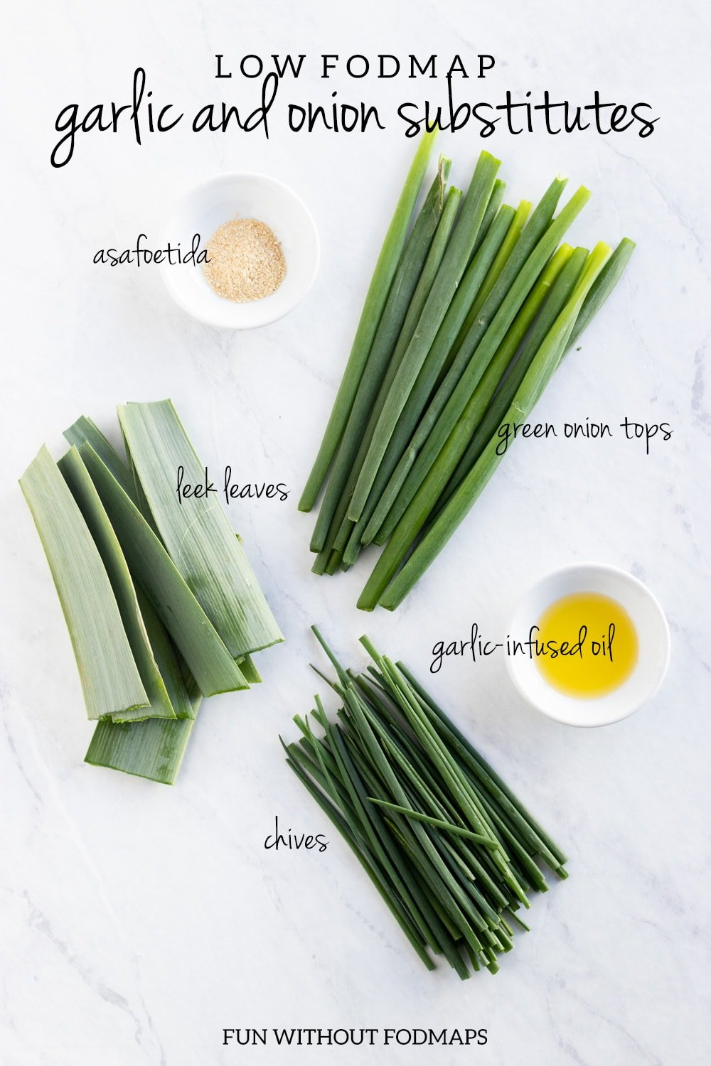 5 low FODMAP garlic and onion substitutes (asafoetida, green onion tops, leek leaves, garlic-infused oil, and chives)