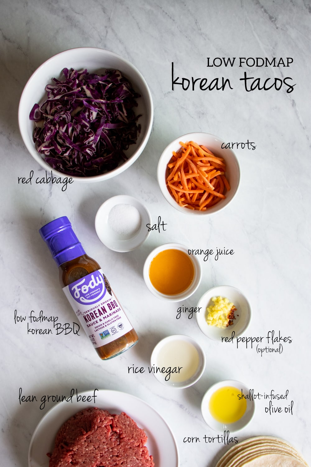 Ingredients needed to make low FODMAP Korean tacos