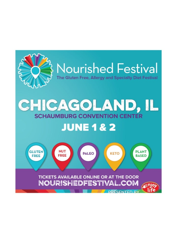 Graphic sharing the details of the Schaumburg Nourished Festival on June 1 & 2, 2019