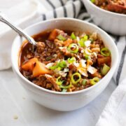 A bowl of low FODMAP turkey chili