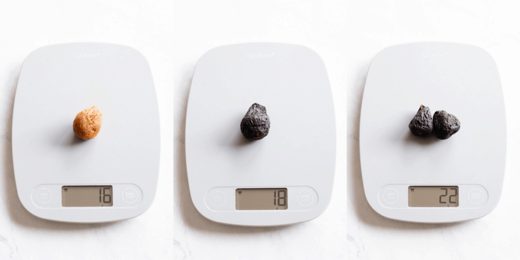 dried figs weight on kitchen scale