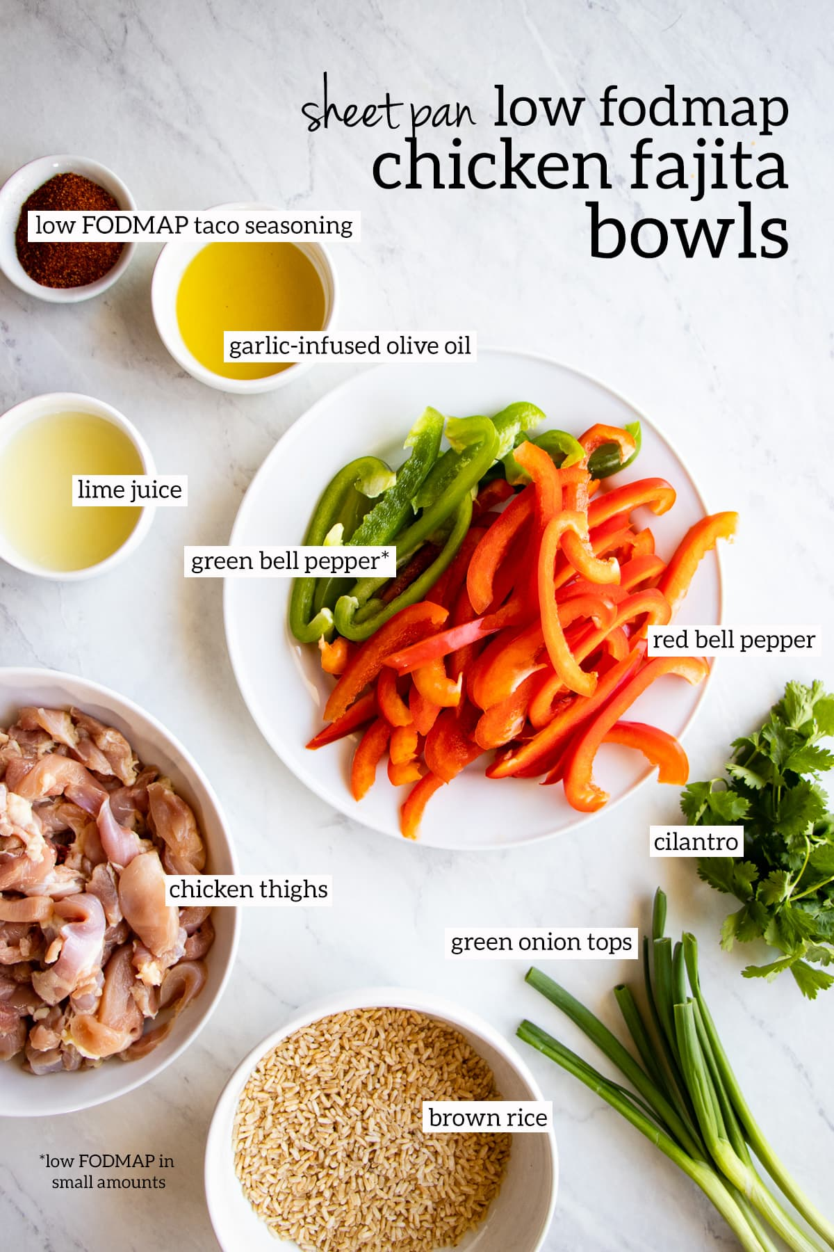 Ingredients needed for low FODMAP sheet pan chicken fajita bowls measured out into individual dishes.