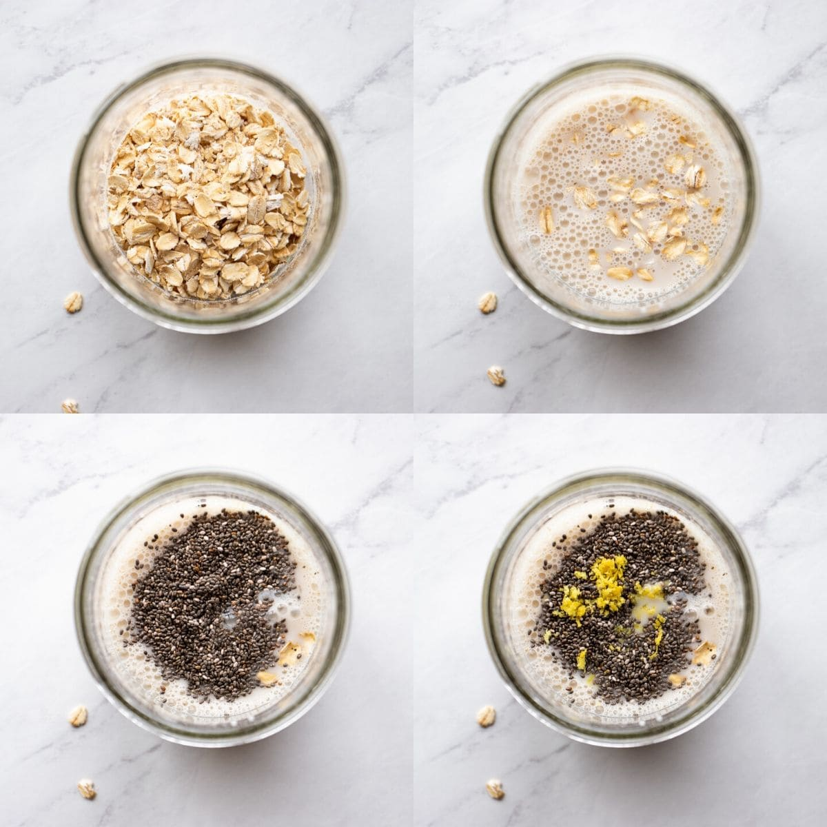 Four images showing the ingredients for overnight oats being added to a glass jar. The order is oats, milk, chia seeds, maple syrup, and lemon.